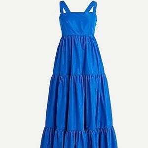 J.Crew Tiered maxi dress in taffeta blue s6 cobalt